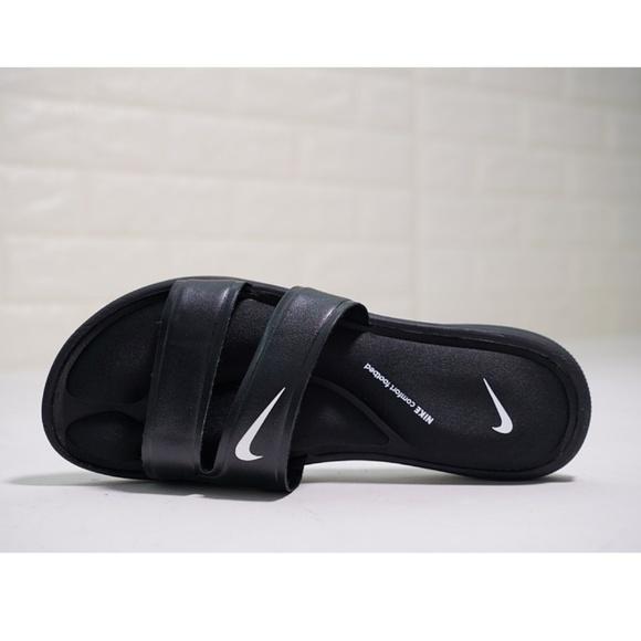 timeless design 40e5b 32f51 Nike Ultra Comfort Slides Dual Strap Sandals Black NWT